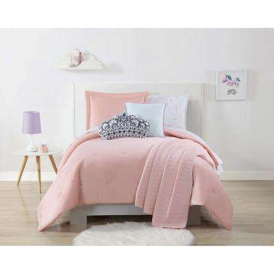 Velvet and Jersey Pink Full / Queen Comforter Set