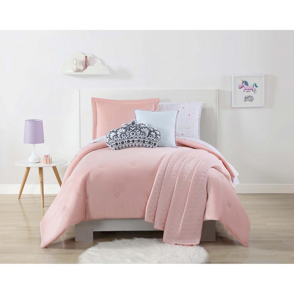 Velvet and Jersey Pink Full / Queen Comforter Set by