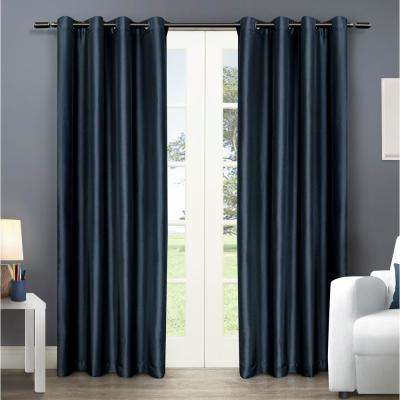 Chatra 54 in. W x 96 in. L Faux Silk Grommet Top Curtain Panel in Indigo (2 Panels)
