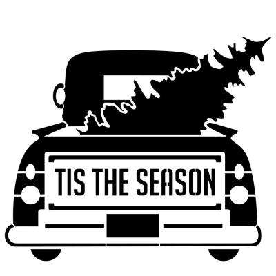 """Tis the Season"" Vintage Truck with Tree Stencil"