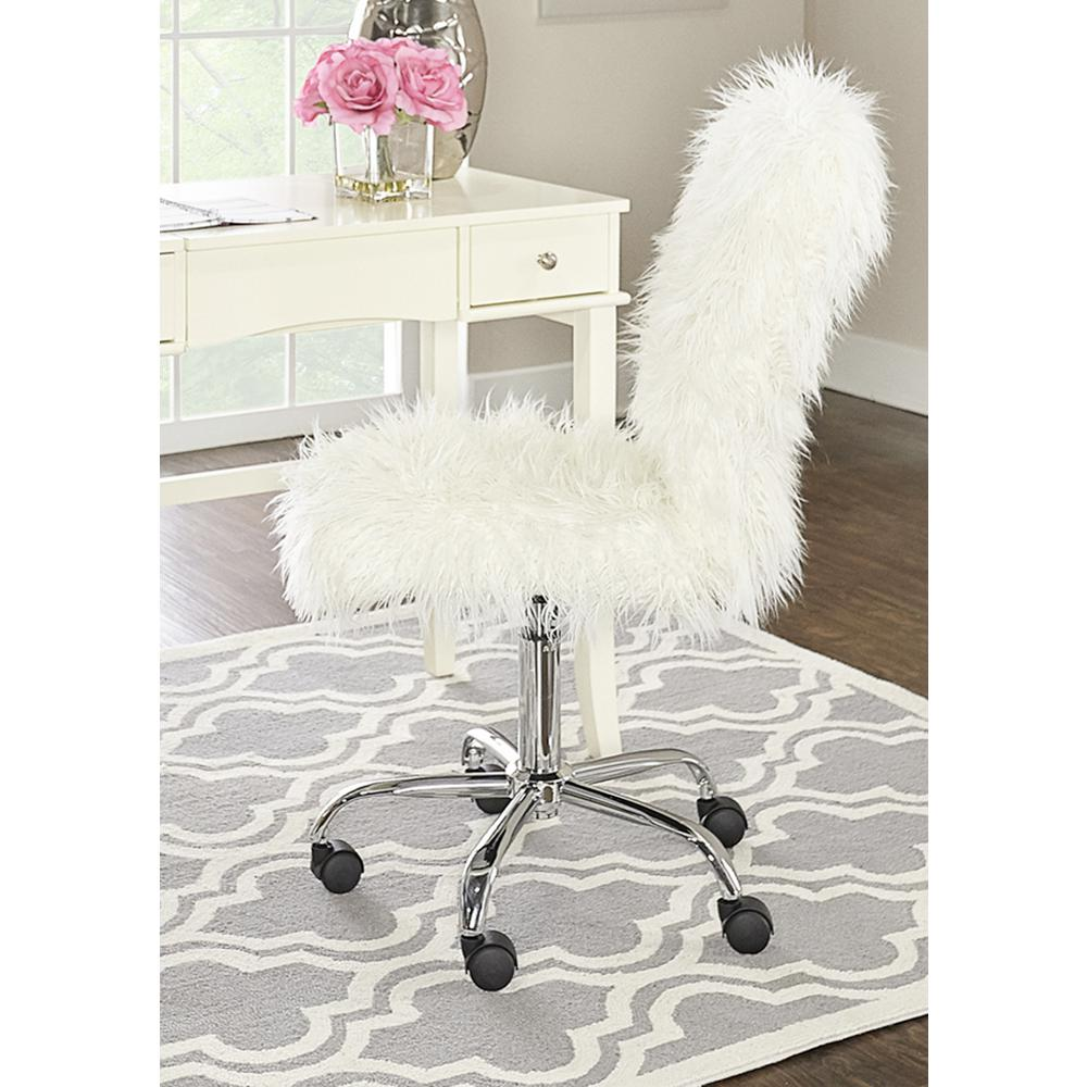 Linon Home Decor Faux Flokati White Armless Office Chair