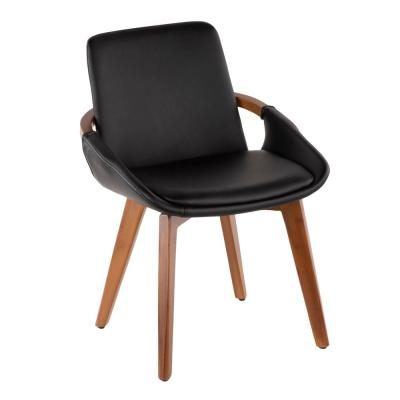 Cosmo Walnut Wood and Black Faux Leather Chair