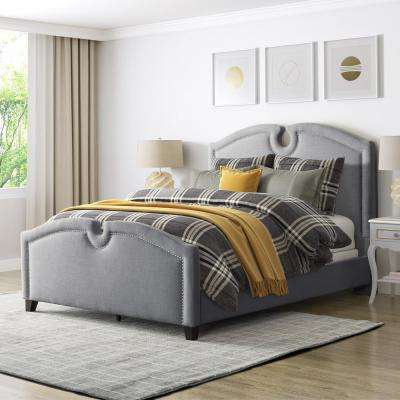 Fairfield Grey Fabric King Curved Top Bed