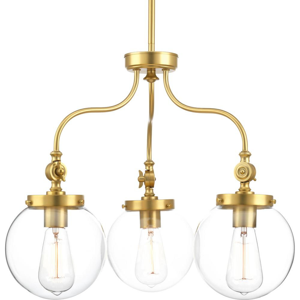 Penn 3-Light Natural Brass Chandelier with Clear Glass Shade