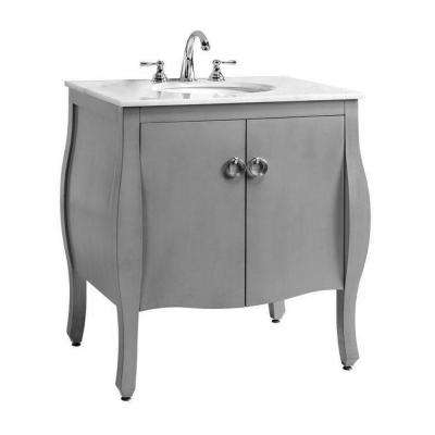 Savoy 31 in. W x 22 in. D Bath Vanity in Antique Grey with White Marble Top and White Basin