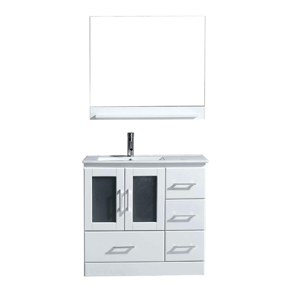 Virtu USA Zola 36 in. W Bath Vanity in White with Ceramic Vanity Top in Slim White Ceramic with Square Basin and Mirror and Faucet