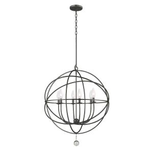 Solaris Collection 6-Light English Bronze Orb Chandelier