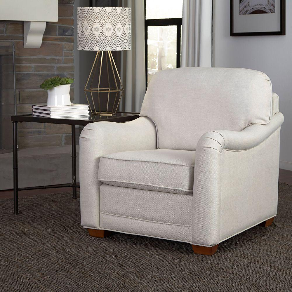 Home Styles Heather Off White Fabric Arm Chair 5205 10 The Home Depot