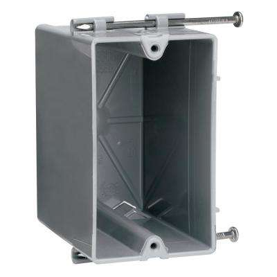 Slater New Work Plastic 1-Gang Reverse Angled Captive Mounting Nails Quick Click Deep Switch and Outlet Box