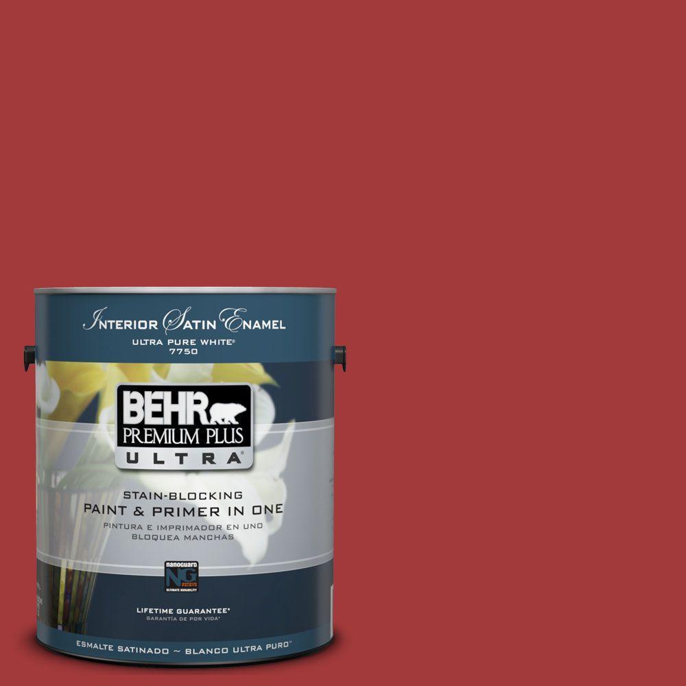 BEHR Premium Plus Ultra 1 gal. #UL110-16 Bijou Red Satin Enamel Interior Paint and Primer in One
