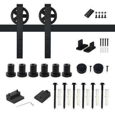 8 ft. /96 in. Frosted Black Sliding Barn Door Track and Hardware Kit for Single with Non-Routed Floor Guide