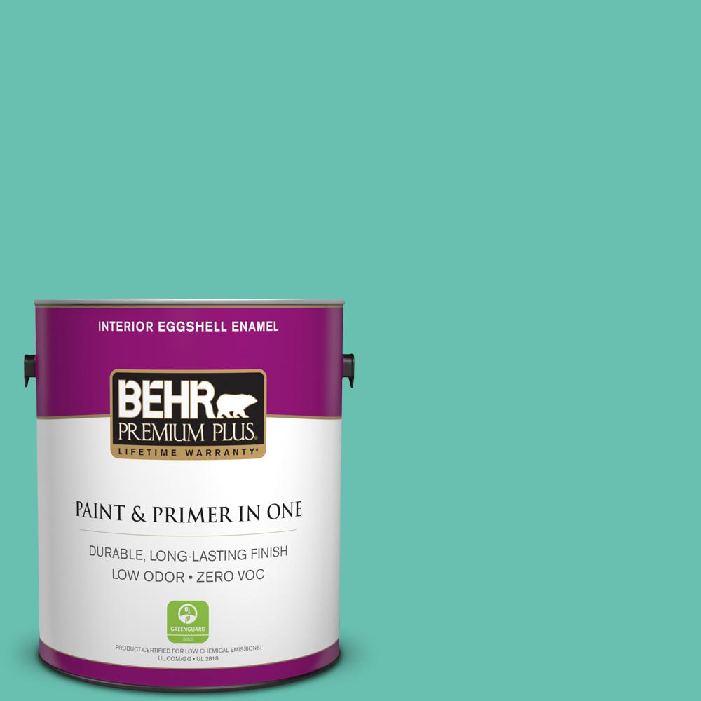 BEHR Premium Plus 1-gal. #P440-4 March Aquamarine Eggshell Enamel Interior Paint