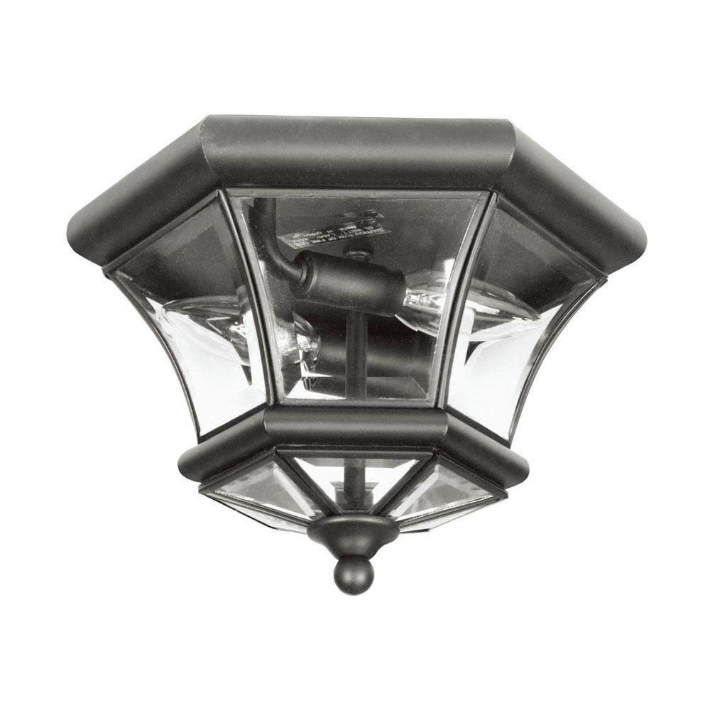 Livex Lighting Providence 2-Light 10.5 in. Black Clear Beveled Glass Flushmount
