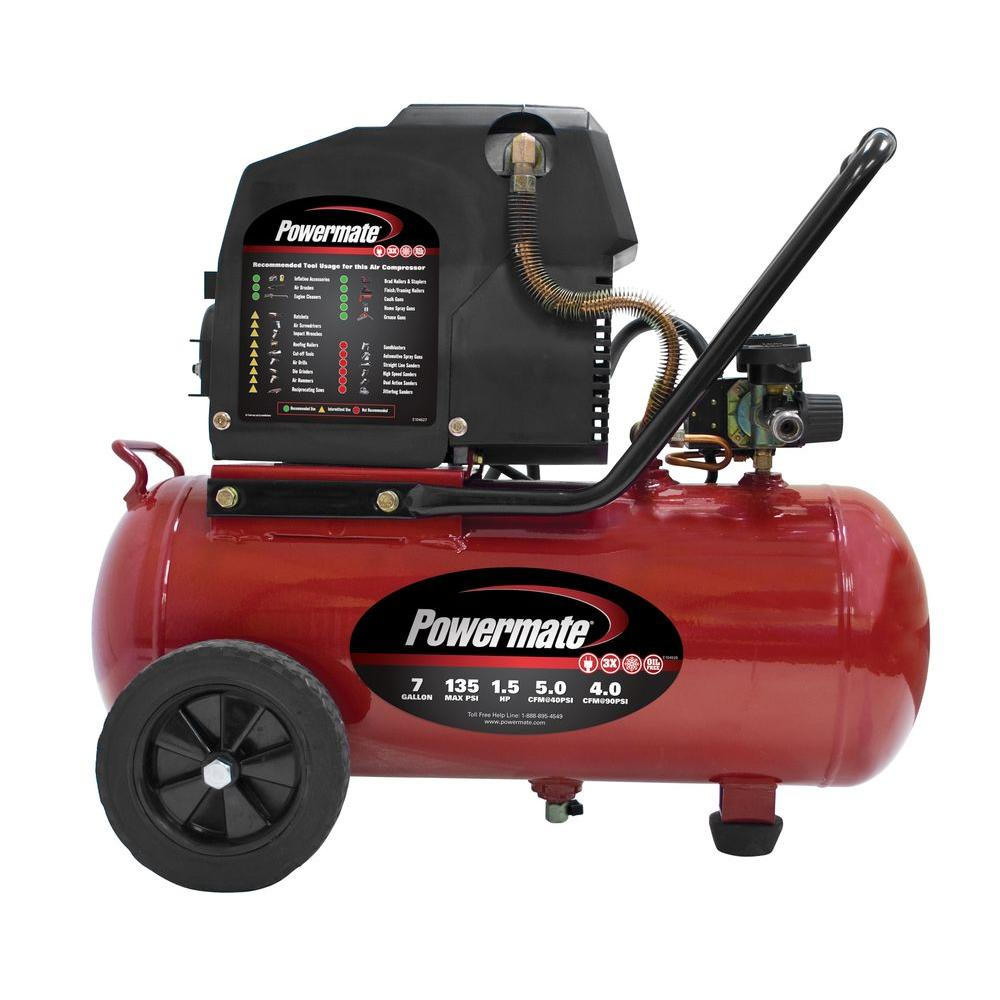 Powermate 7 Gal. Portable Electric Air Compressor with Extra Value Kit