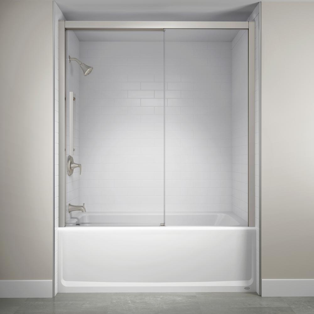 60 in. x 59 in. Semi-Frameless Concealed Sliding Shower Door in Brushed Nickel