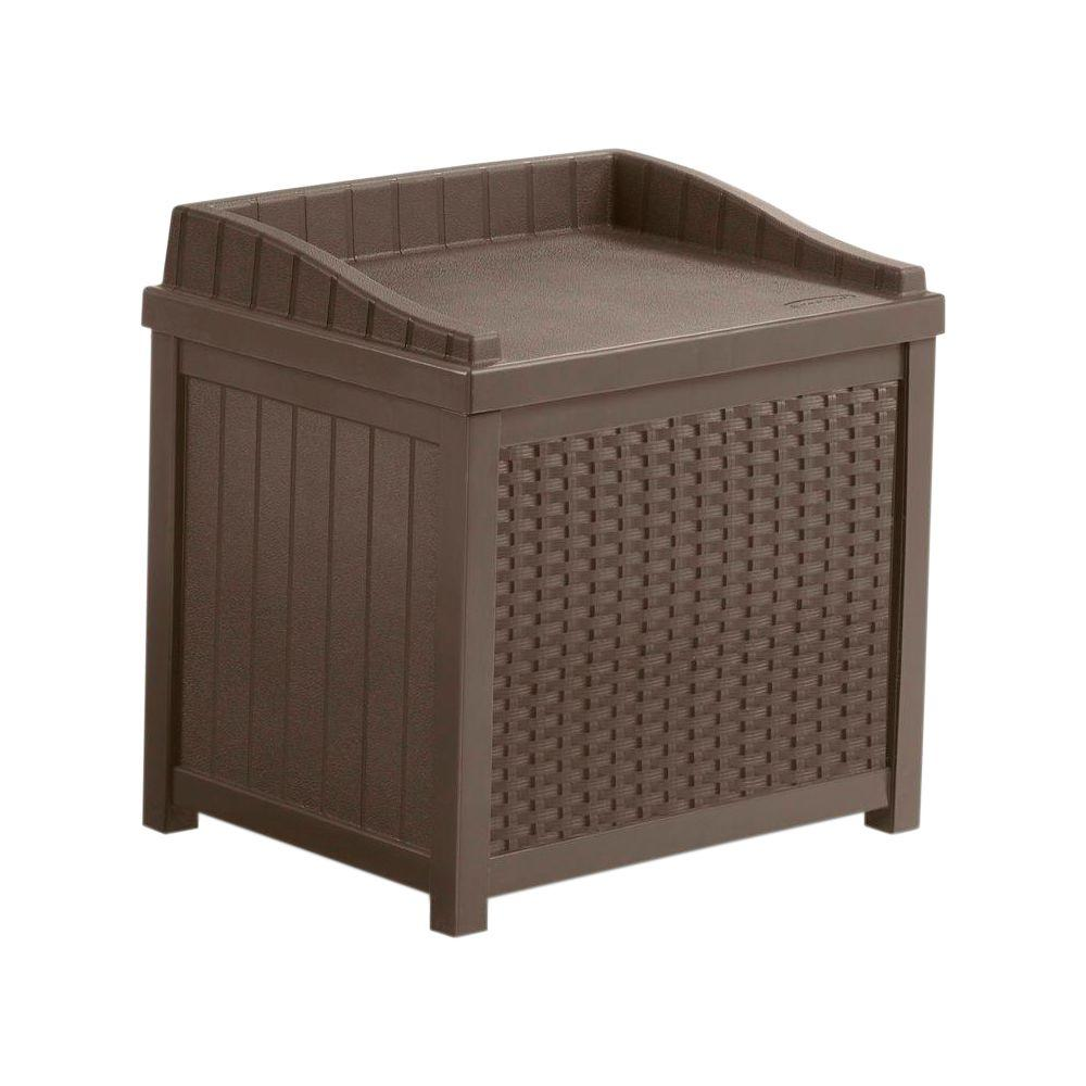 Suncast 22 Gal Java Resin Wicker Storage Seat Ssw1200 The Home Depot