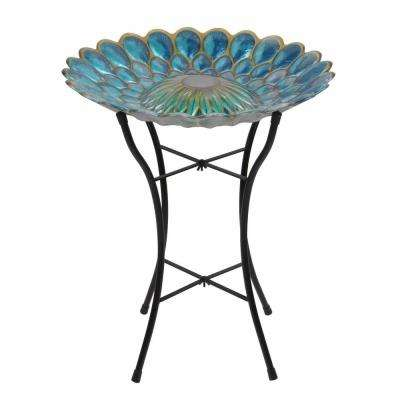 18 in. Glass Outdoor Fusion Solar Birdbath