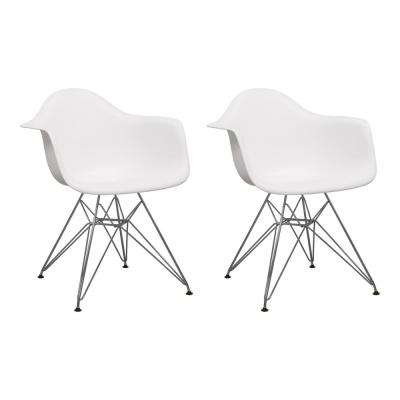 Paris Tower White Dining Arm Chair with Chrome Legs (Set of 2)