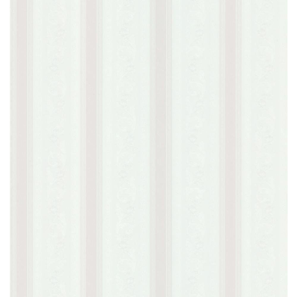 Cameo Rose IV White Pomander Scroll Stripe Wallpaper Sample