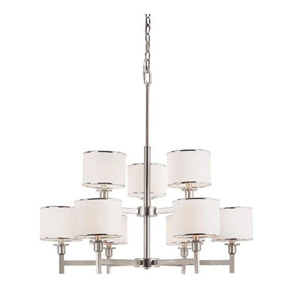 Bel Air Lighting Cabernet Collection 9 Light Brushed Nickel Chandelier With White Linen Shade