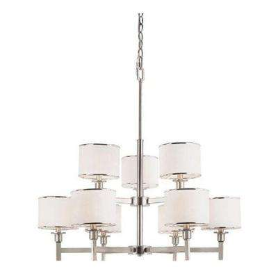 Cabernet Collection 9-Light Brushed Nickel Chandelier with White Linen Shade