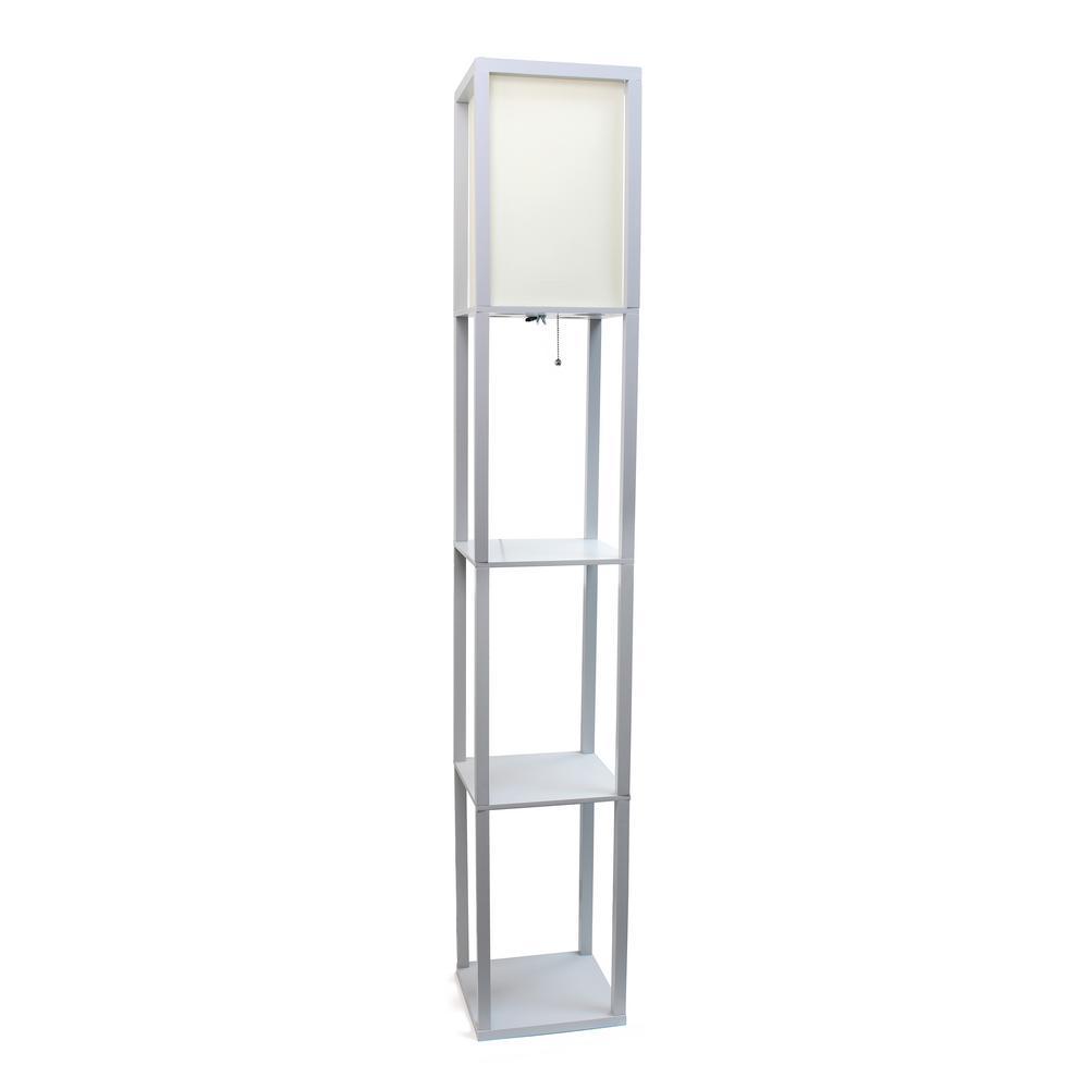 62.75 in. Gray Floor Lamp Etagere Organizer Storage Shelf with Linen Shade