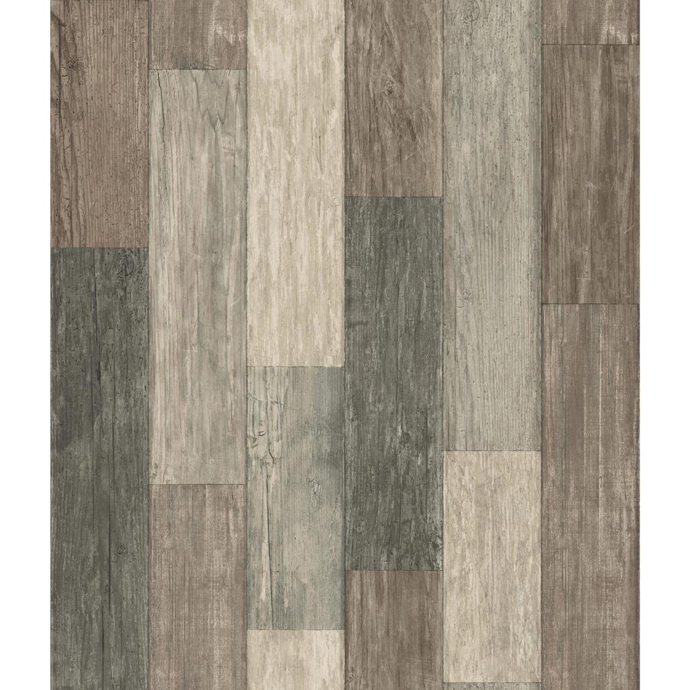 Dark Weathered Plank Vinyl Peelable Wallpaper (Covers 28.18 sq. ft.)