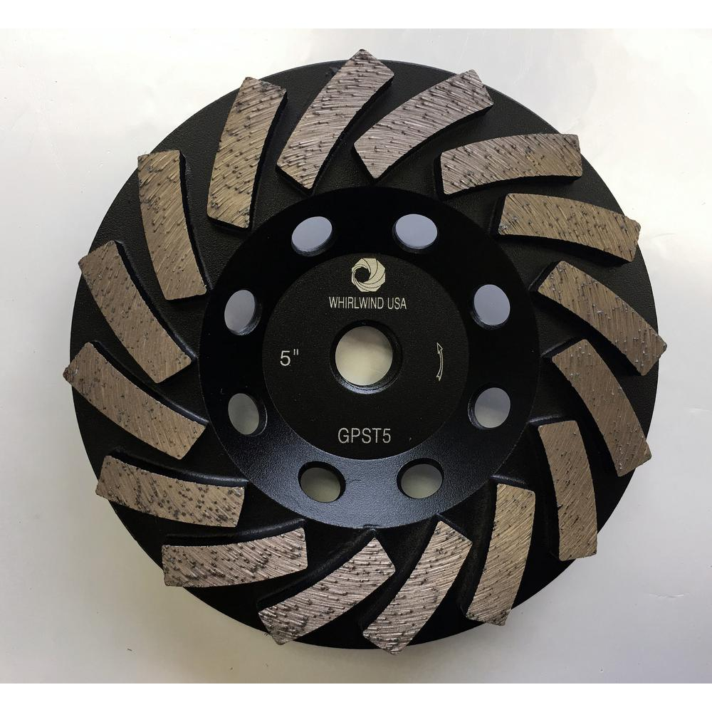 Whirlwind USA 5 in. Segmented Diamond Grinding Turbo Cup Wheel for Concrete and Mortar