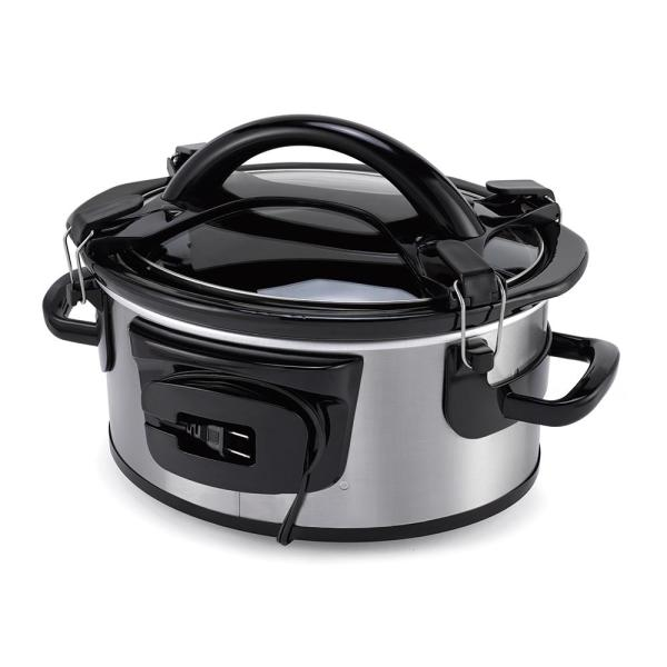 Crock-Pot Single Hand 6 Qt  Black Stainless Slow Cooker with