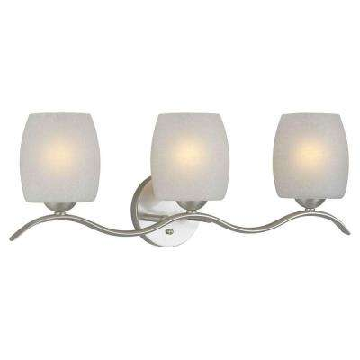 Andrea Burton 3-Light Brushed Nickel Bath Vanity Light