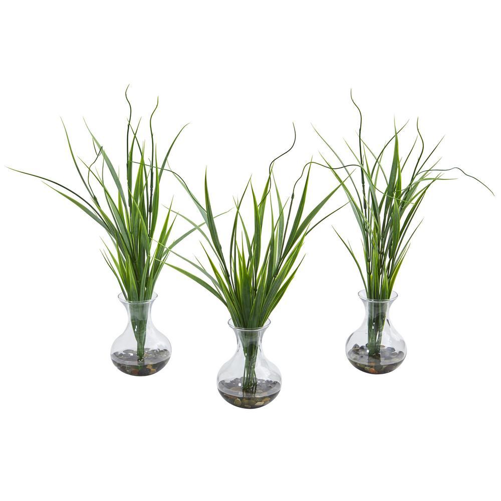 Indoor Grass Artificial Plant in Vase (Set of 3)