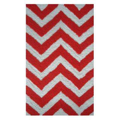 Chevron Orange 1 ft. x 2 ft. Indoor Area Rug