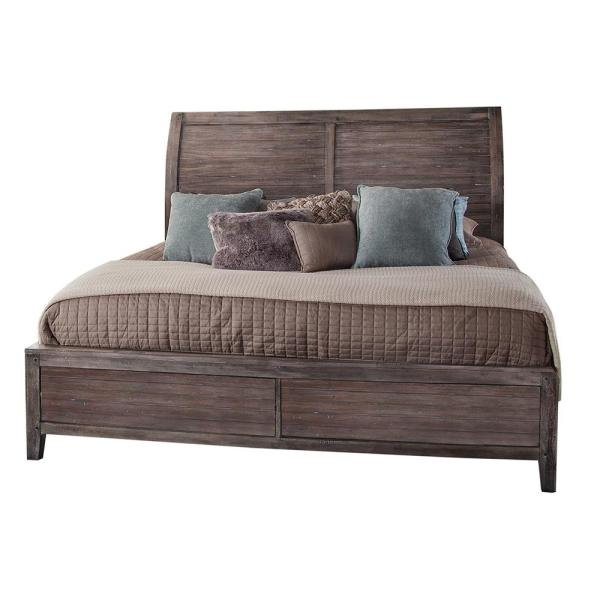 Aurora Weathered Gray King Sleigh Bed (No Storage)
