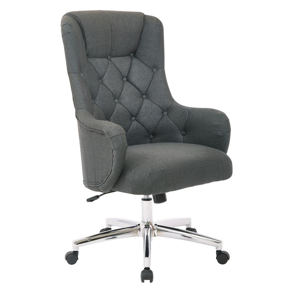 OSP Home Furnishings Ariel Charcoal Desk Chair, Grey Cozy home office. Get the function of a traditional desk chair, combined with the style of a plush accent chair, all in one with this comfortable office chair. You'll love the supportive, high back and padded cushion seat while you carry out your tasks for the day. Plus with the adjustable height base you can always find your comfort zone. Get the style you crave in your home office with the Ariel desk chair. Color: Charcoal.