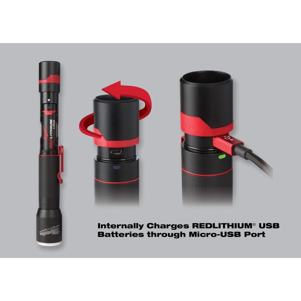 NEW MILWAUKEE 700-Lumen LED USB Rechargeable Aluminum Flashlight 2110-21