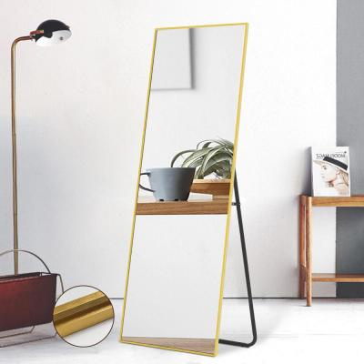 Oversized Brushed Matte Gold Metal Beveled Glass Modern Mirror (64.17 in. H X 21.26 in. W)