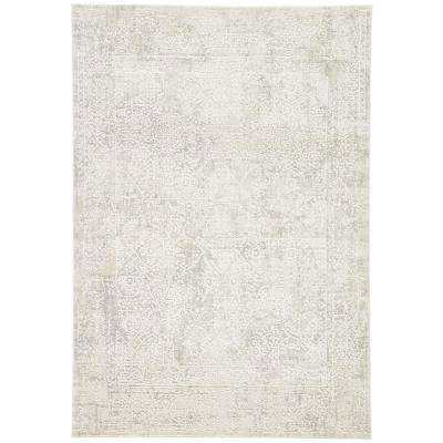 Machine Made Light Gray 9 ft. x 12 ft. Abstract Area Rug