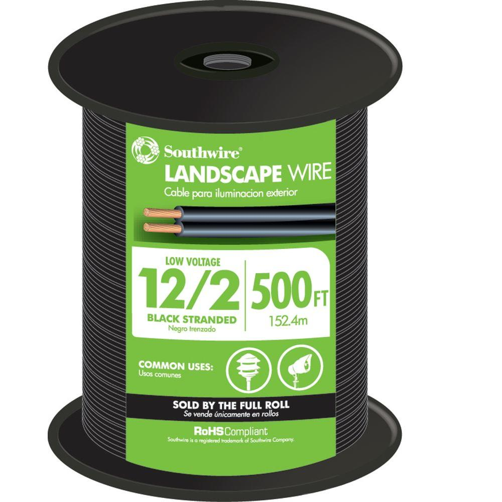Southwire 500 ft. 12/2 Black Stranded CU Low-Voltage Landscape Lighting Wire
