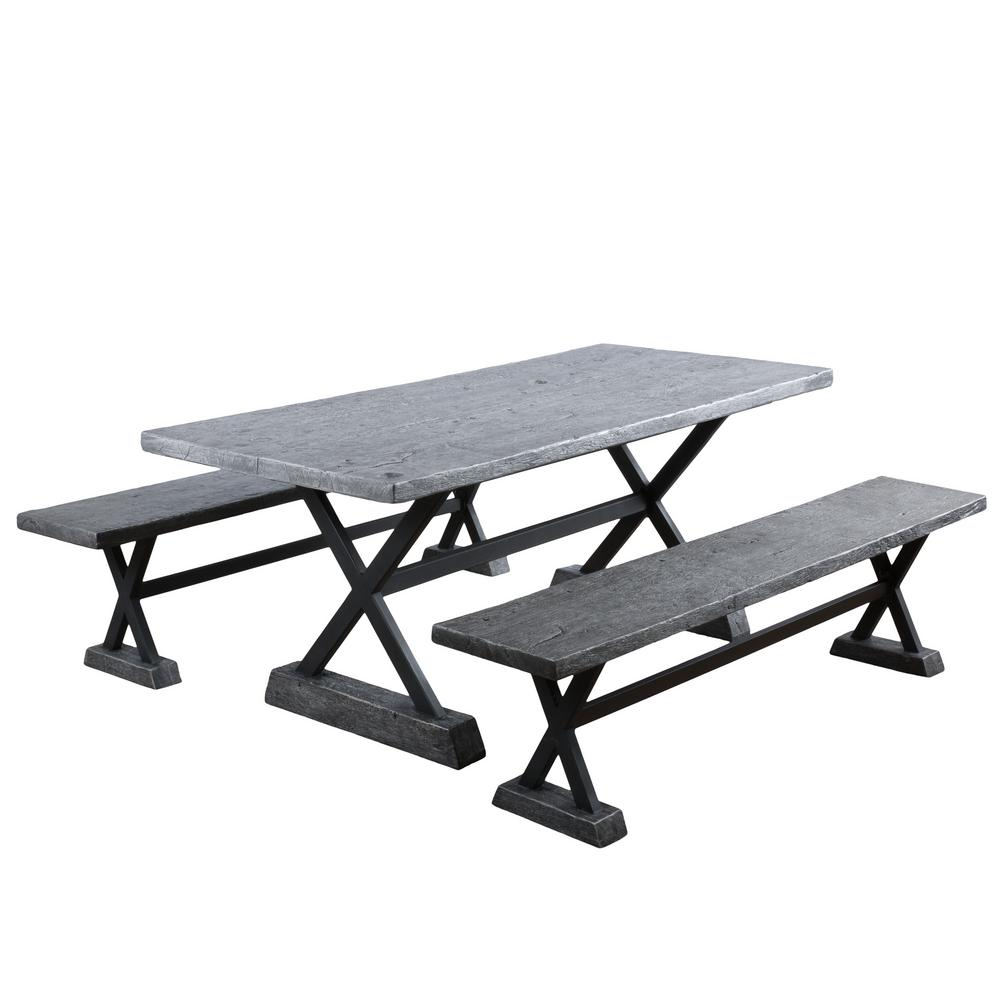 Grey Metal Rectangular Dining Set