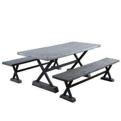 Belmond Grey 3-Piece Metal Rectangular Outdoor Dining Set