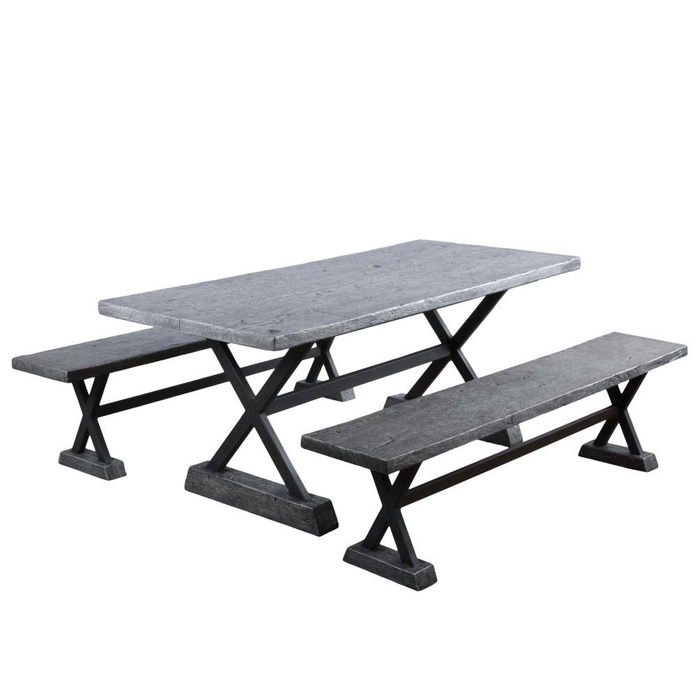 Belmond Grey 3-Piece Metal Rectangular Outdoor Dining Set