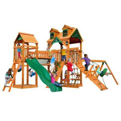 Pioneer Peak Wooden Swing Set with Malibu Wood Roof and Clatter Bridge