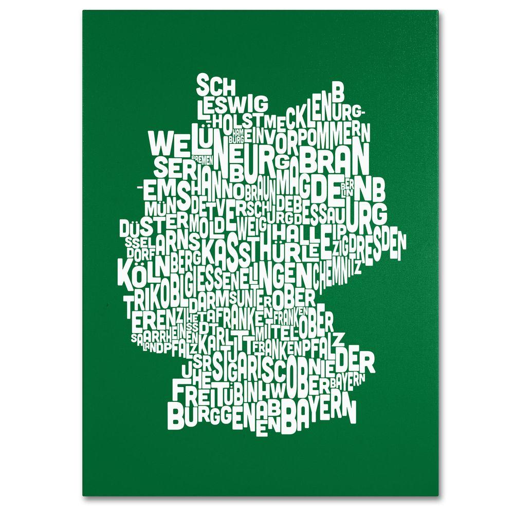 16 in. x 24 in. Germany Regions Map - Forest Canvas