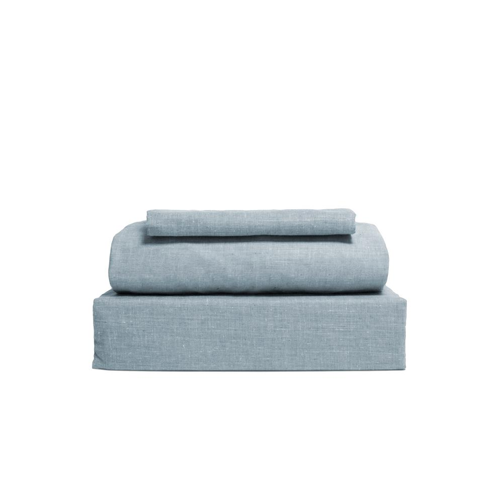 Chambray 3-Piece Light Blue Cotton/Polyester Twin Sheet Set
