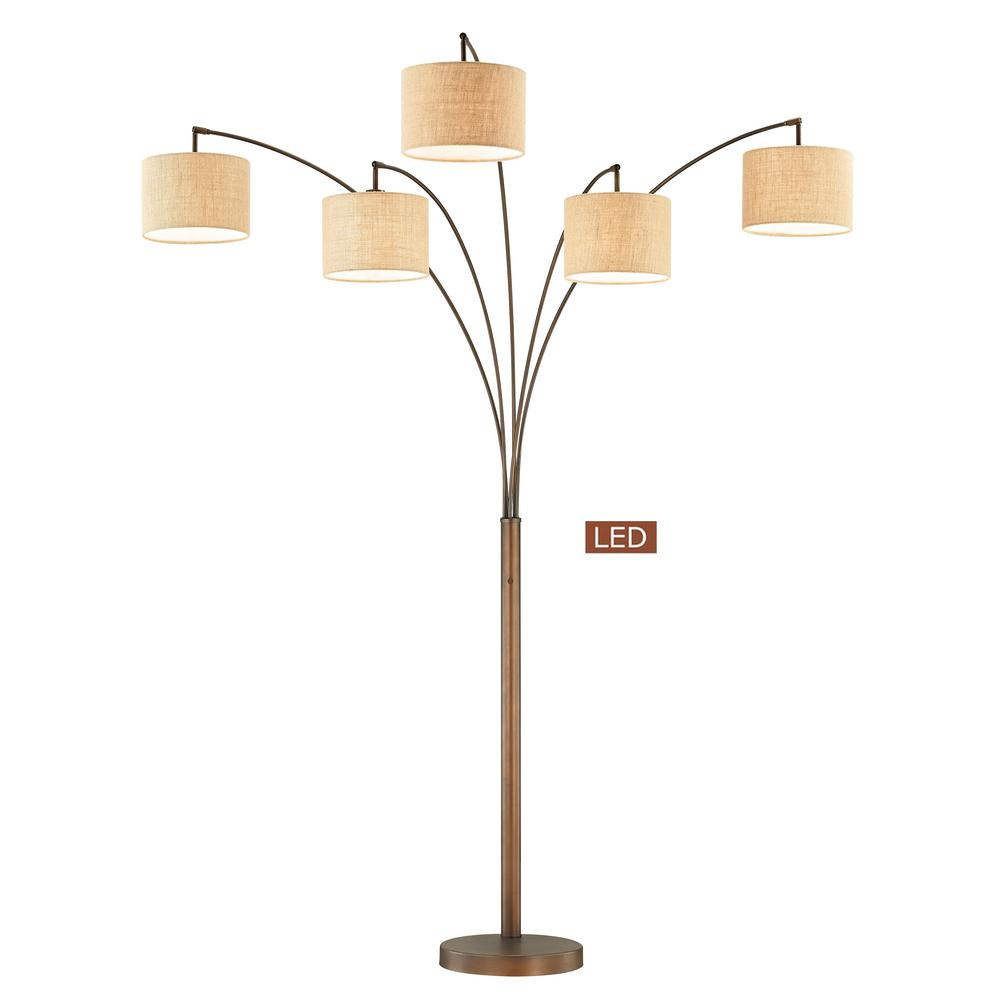 Antique bronze 5 arc led floor lamp with dimmer