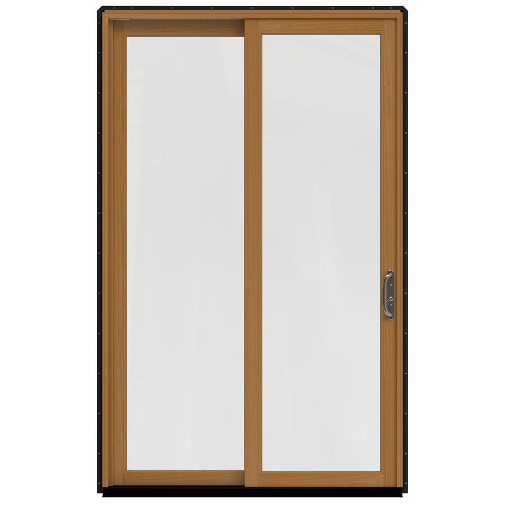 59.25 in.x95.5 in. W-2500 Chestnut Bronze Prehung Right-Hand Sliding 1-Lite Pine