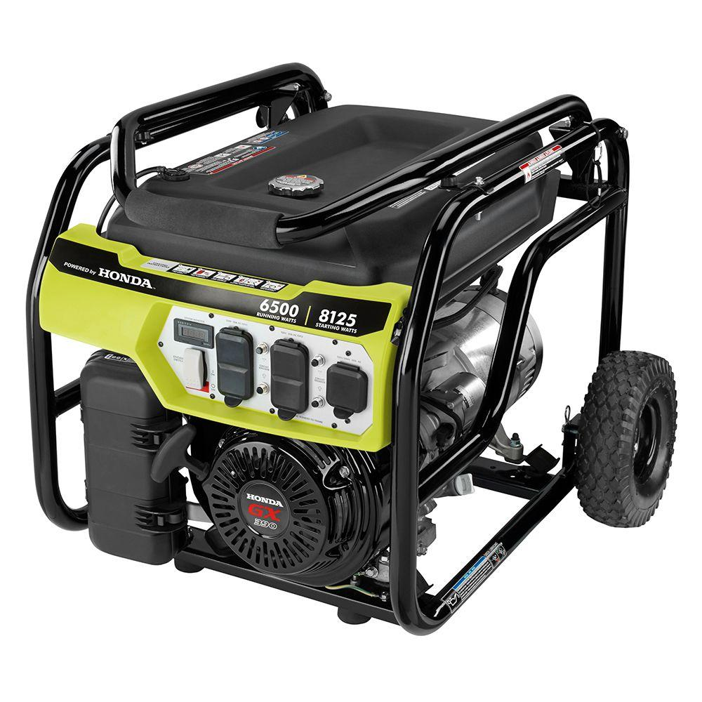RYOBI 6,500-Watt Gasoline Powered Portable Generator with