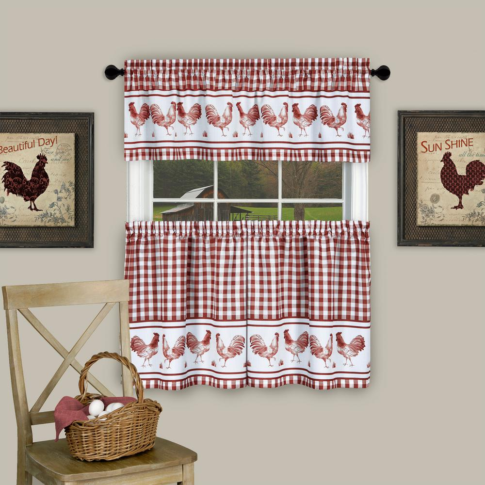 Achim Barnyard Burgundy Polyester Tier and Valance Curtain Set - 58 in. W x 36 in. L