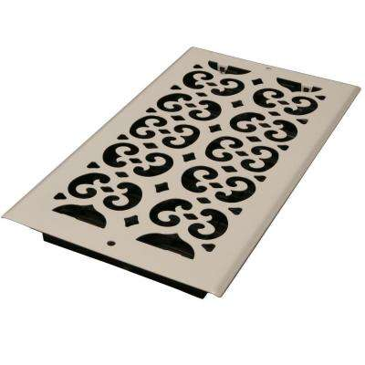6 in. x 10 in. White Steel Scroll Wall and Ceiling Register