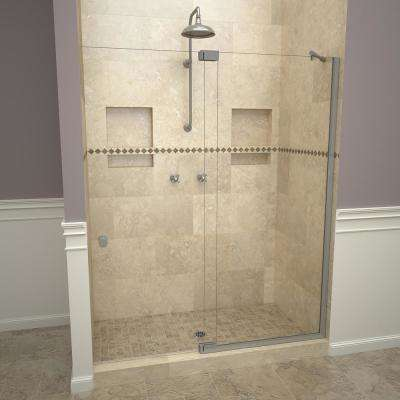 2900V Series 60 in. W x 76 in. H Semi-Frameless Offset Pivot Hinge Shower Door in Brushed Nickel with Knobs